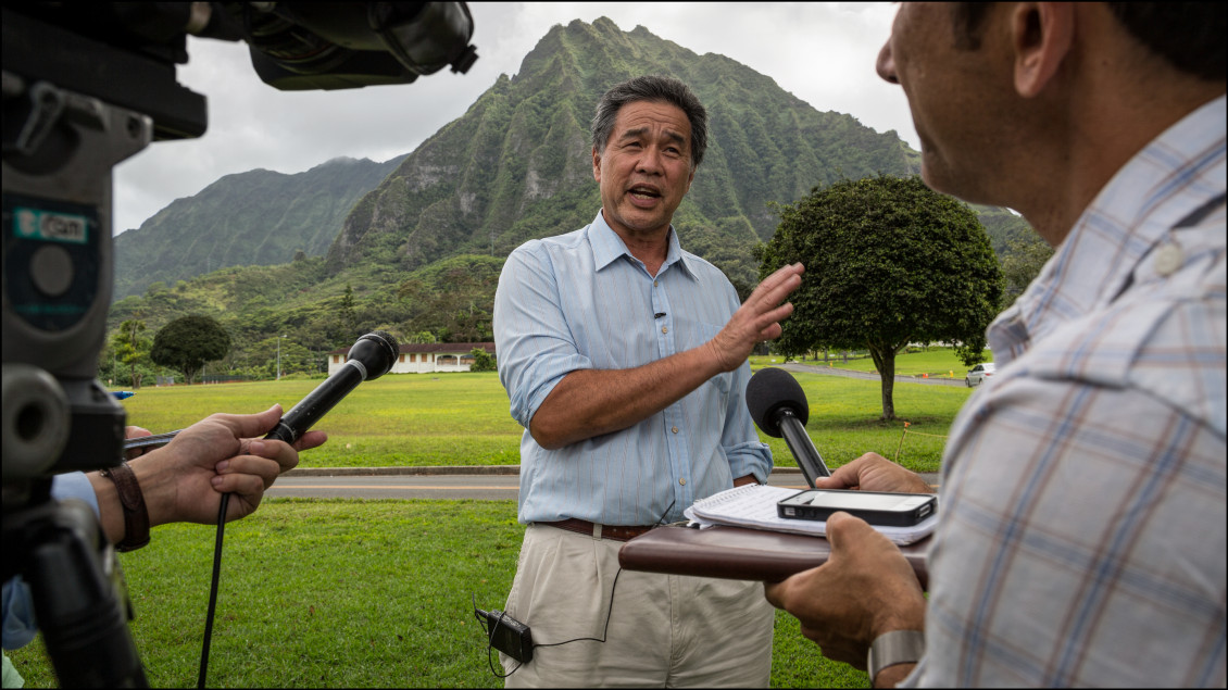 Sen. Clayton Hee speaks to media after taking a tour of the Hawaii State Hospital in Kaneohe.
