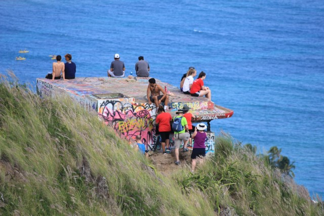 Crowded pillbox hikers