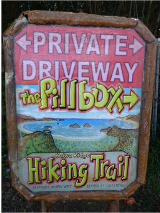 The Pillbox Hiking Trail sign