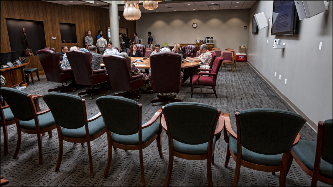 The room is cleared before the OHA Board of Trustees and OHA CEO Kamana'opono Crabbe go into Executive Session. 5.9.14