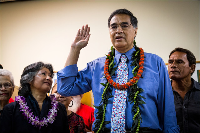 Gubernatorial candidate Mufi Hannemann loyalty oath Office of Elections Pearl City wife Gail