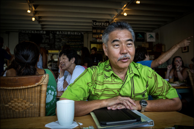 Gubernatorial candidate Sen. David Ige Morning Glass Coffee Manoa