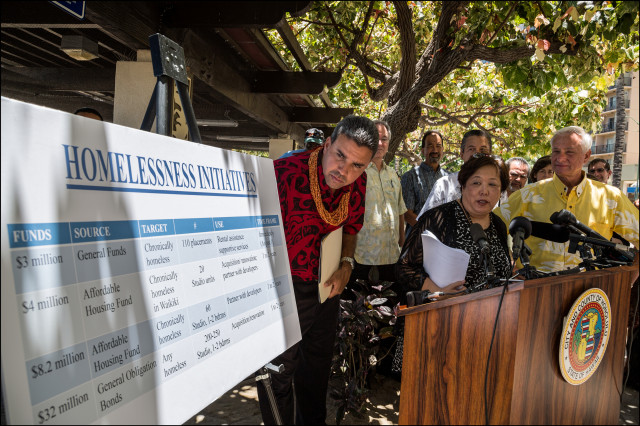 Mayor Caldwell Ikaika Anderson Ember Shinn Waikiki Homeless plan news conference