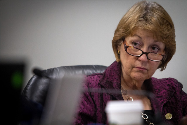 State Sen. Roz Baker listens at a hearing during the 2014 legislative session.