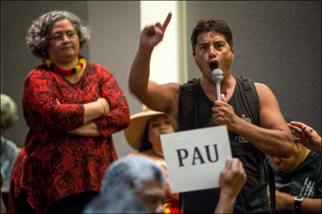 Maurice Rosetti shared his manao with the Department of the Interior panel during a public meeting on whether the United States should establish a government-to-government relationship with Hawaii's indigenous community, Hawaii State Capitol auditorium, June 23, 2014.