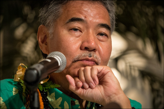 Sen. David Ige, on stage during the 2014 Hawaii Gubernatorial Democratic Forum presented by Honolulu Japanese Chamber of Commerce  and held at the Japanese Cultural Center in Moiliili on June 24, 2014.