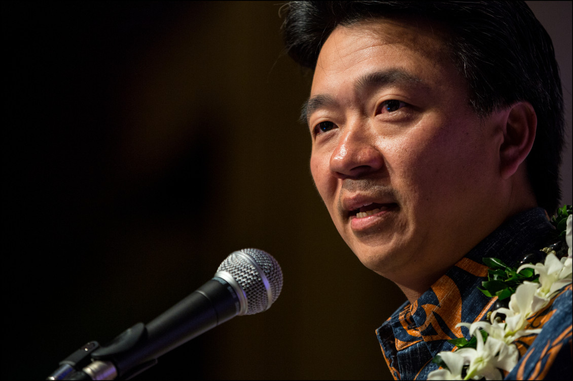 Lt. Gov. Shan Tsutsui speaks at the the Democratic Party of Hawaii State Convention on May 24, 2014 held at the Sheraton Waikiki in Honolulu, HI.