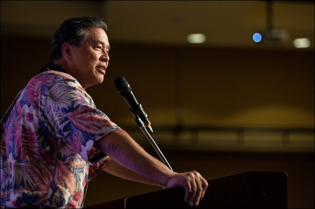 Sen. Clayton Hee speaks at the the Democratic Party of Hawaii State Convention on May 24, 2014 held at the Sheraton Waikiki in Honolulu, HI.