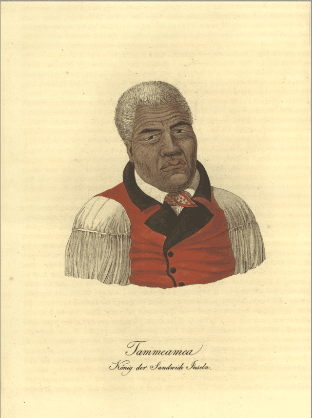 """Kamehame I portrait entitled, """"Kamehameha in Red Vest."""""""
