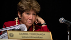 Carol Fukunaga of the Honolulu City Council listens to public testimony at council meeting on June 4, 2014.