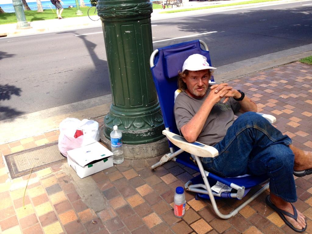 Mark Marlowe, pandhandling from his seat
