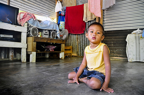 POHNPEI, Federated States of Micronesia (July 7, 2011) - A young boy sits in a shack during a mobile veterinarian civic action project for Pacific Partnership 2011. Pacific Partnership 2011 will visit the islands of Tonga, Vanuatu, Papua New Guinea, Timor-Leste and the Federated States of Micronesia. (Photo By Kristopher Radder)