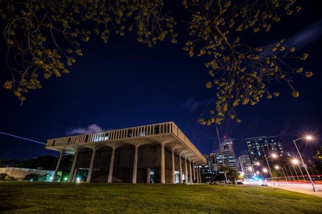 Hawaii Capitol at night PF