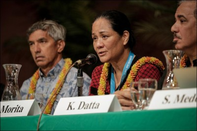Outgoing Public Utilities Commission chair Mina Morita speaks at an energy conference, 2014.