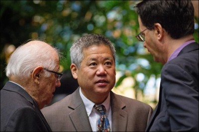 House Majority Leader Scott Saiki, pictured here at center with House Speaker Joe Souki, left, and Judiciary Chair Karl Rhoads.