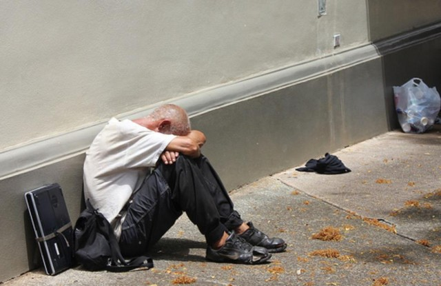 Homeless man in Chinatown
