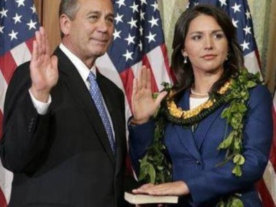 U.S. Rep. Tulsi Gabbard was sworn into Congress at the start of 2013 by the body's top Republican, John Boehner.
