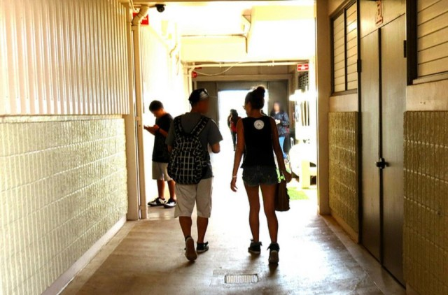 Students at Campbell High School make their way from class to class.
