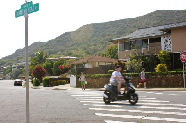 Moped on Diamond Head Road