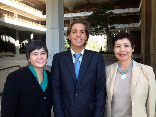 Lance Collins, center, is seen here in 2012 with Lisa Jacobs, left, who's part of the legal team, and Keiko Bonk, a Green Party candidate.