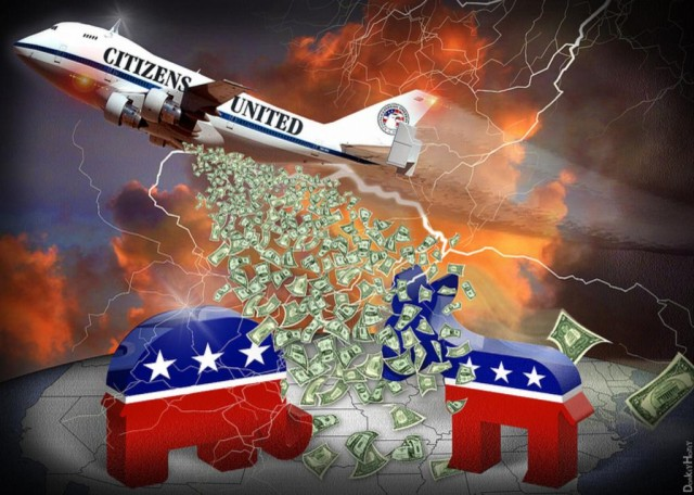 Citizens United graphic - plane with money (color)