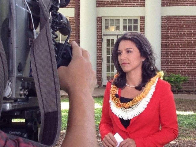 Tulsi Gabbard resigning from the Honolulu City Council to run for Congress in 2012.