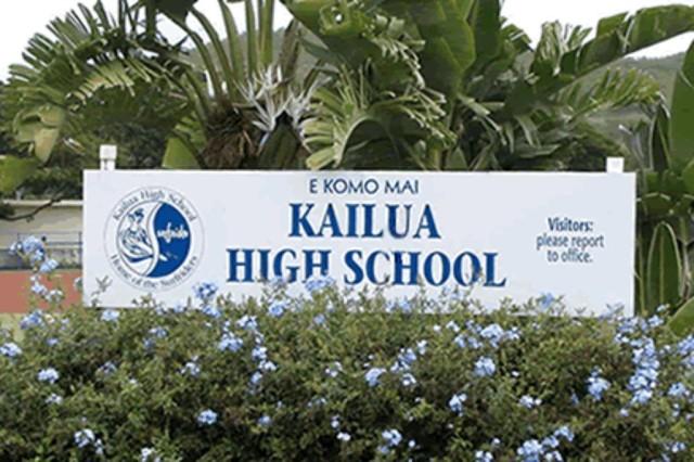 Kailua High School, where the author serves as student body president.