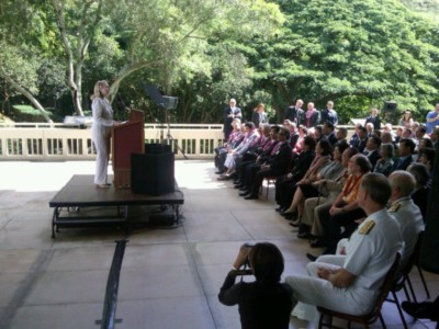Then Secretary of State Hillary Clinton speaks at the East-West Center in Honolulu in 2011.