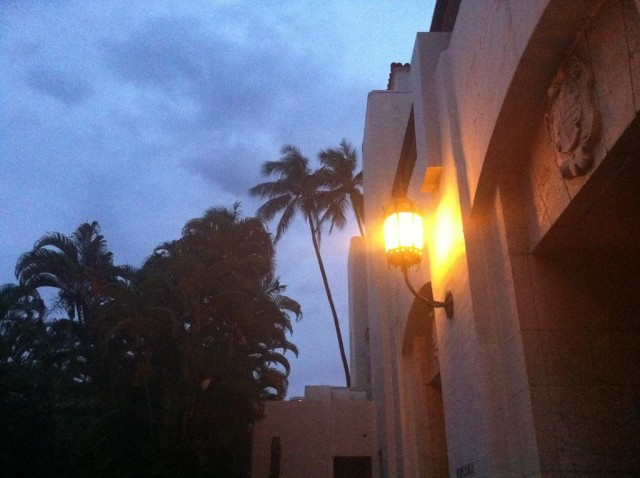Honolulu Hale front doors stormy evening