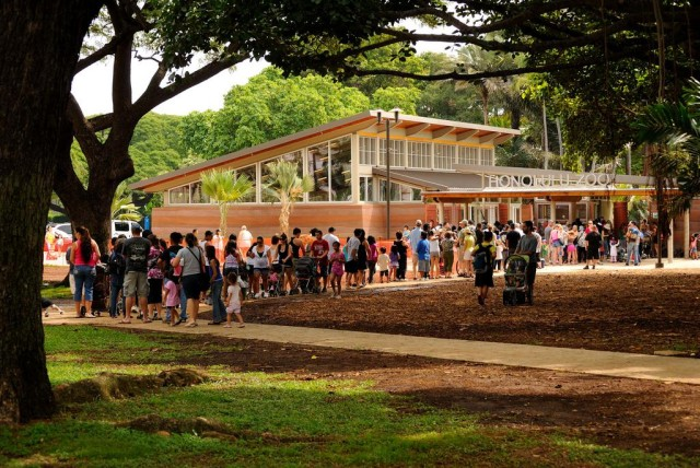 Students wait in line to get into the Honolulu Zoo. The zoo's request to become accredited was denied.