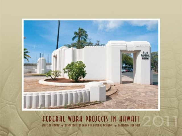 Ala Moana Park was created as part of a federal works project under President Franklin D. Roosevelt's New Deal. In 1934, Roosevelt came to Hawaii and dedicated the east gateway portal seen here.