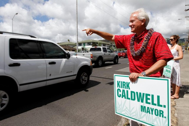 Caldwell was acting mayor of Honolulu when he lost the special election to fill out the remainder of Mufi Hannemann's term.