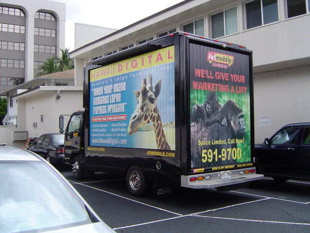 Truck billboard advertising truck