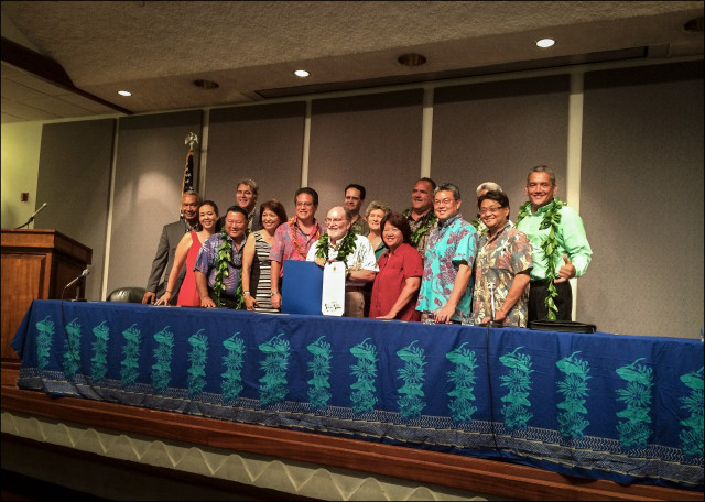 State and county leaders celebrate the launching of Aloha+ Challenge: A Culture of Sustainability at the Capitol Auditorium, July 7, 2014