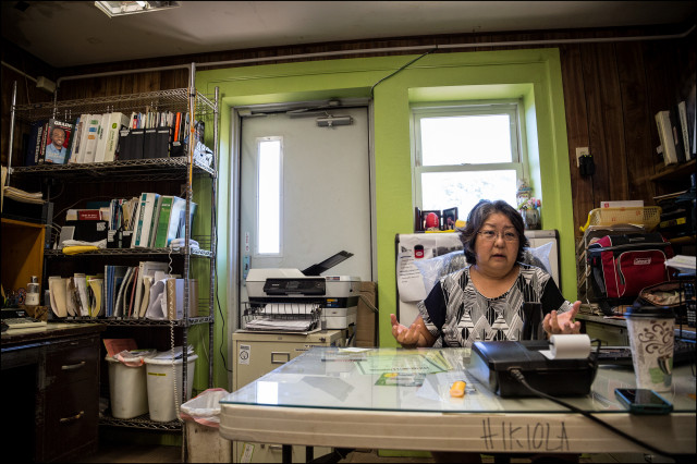 EMBARGOED FOR MOLOKAI 7.14.14 Hikiola farm coop manager Tina Tamanaha in her office on July 2, 2014