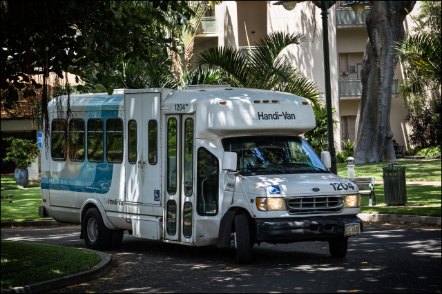 The Handi-Van pulls out of Queens Hospital on July 9, 2014.