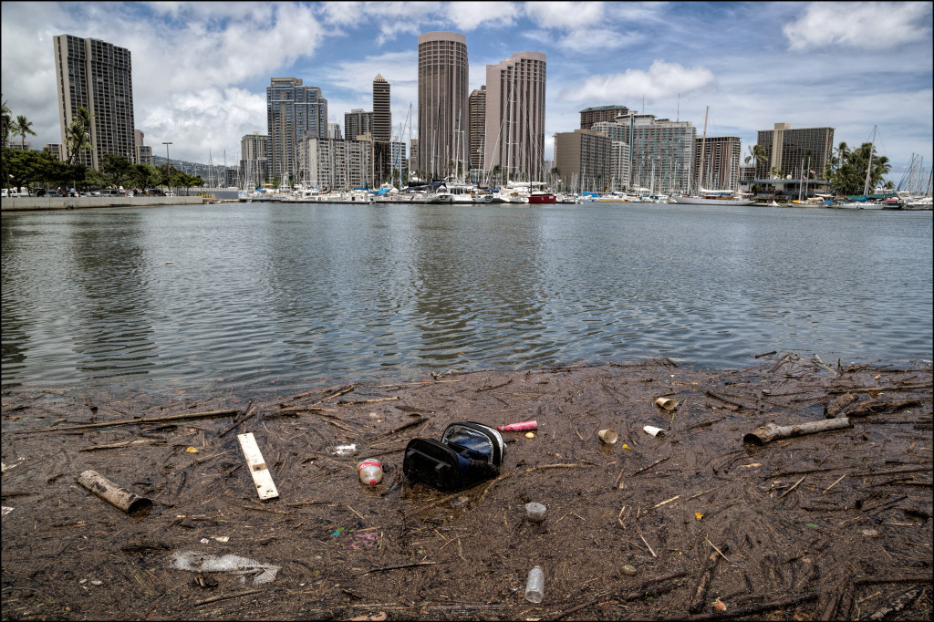 The view from Magic Island where the Ala Wai Canal flows out to the ocean in Ala Moana Beach Park after the sewage spill Tuesday.