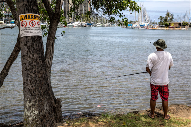 Fisherman working the waters despite caution signs along Magic Island in Ala Moana Beach Park on July 22, 2014.