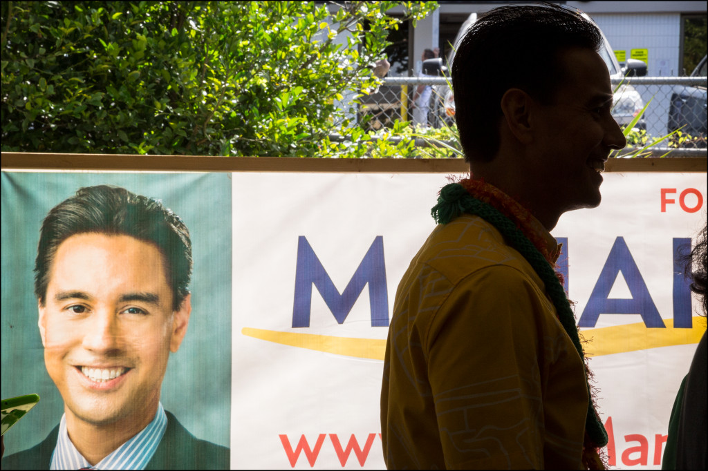 Congressional candidate and City Councilman Joey Manahan at the Candidates Fair on Friday.