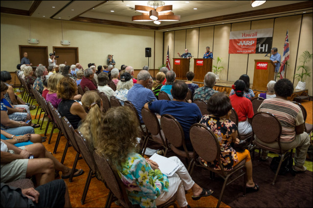 Gov. Neil Abercrombie and Sen. David Ige during debate presented by AARP at the King Kamehameha Hotel in Kailua-Kona on July 29, 2014