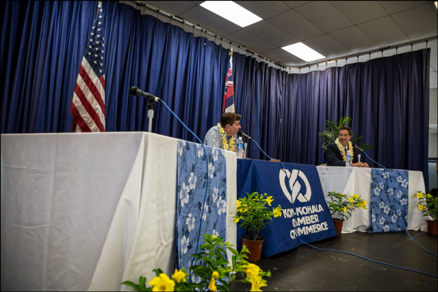 Sen. Clayton Hee debates alone in Kona at Kealakehe High School cafeteria.  The debate was sponsored by the Kona-Kohala Chamber of Commerce on July 29, 2014