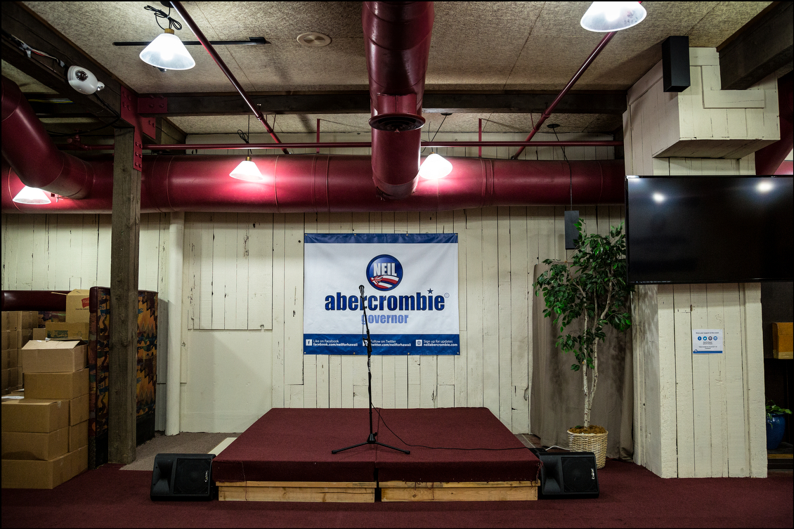 The scene at the governor's campaign headquarters on July 30 before Abercrombie unveiled his plans for the state — if he wins another term. Most analysts believed as recently as the start of the year that Abercrombie would coast to an easy victory over the relatively little known Ige.