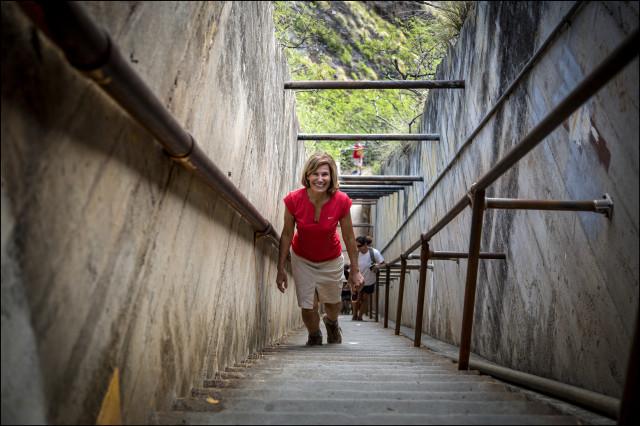 Denby Fawcett walks up stars near the top of the Diamond Head trail on July 24, 2014.