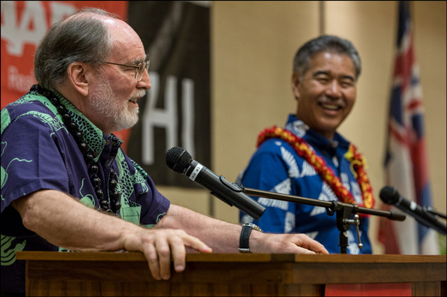Gov. Neil Abercrombie and Sen. David Ige share a lighter moment during debate presented by AARP at the King Kamehameha Hotel in Kailua-Kona on July 29, 2014