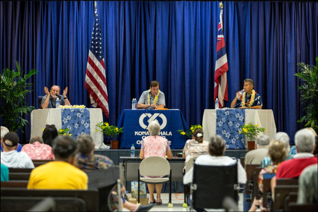 Gov. Neil Abercrombie speaking during debate with Sen. David Ige. The debate was presented by the Kona-Kohala Chamber of Commerce at Kealakehe High School on July 29, 2014. Steve Petranik, editor of Hawaii Business Magazine was the moderator.