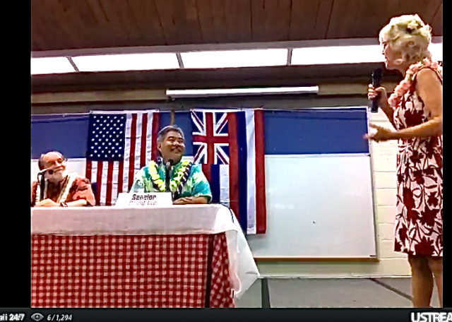 Ige, Abercrombie gov forum Waimea June 23