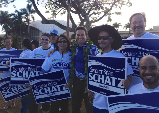 Schatz with Kauai supporters July 1, 2014