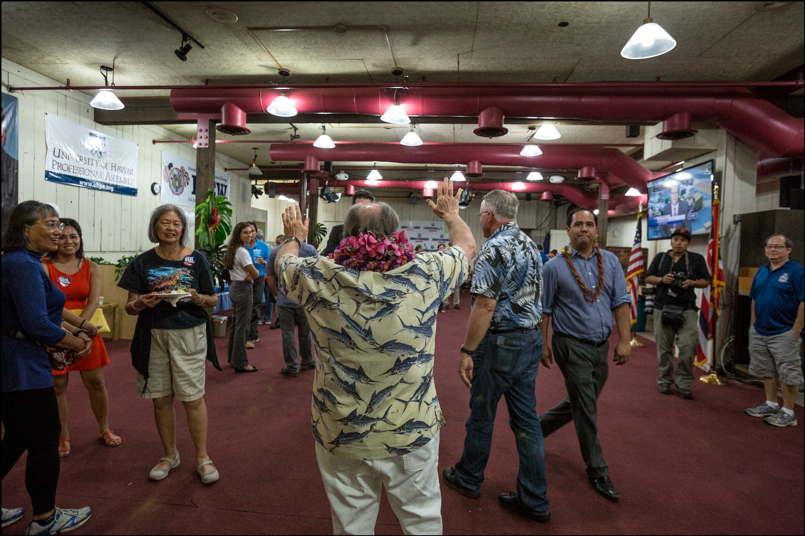 Knowing that surveys showed him far behind, Gov. Abercrombie told campaign workers he'd return in the evening to address them — after actual votes were counted.