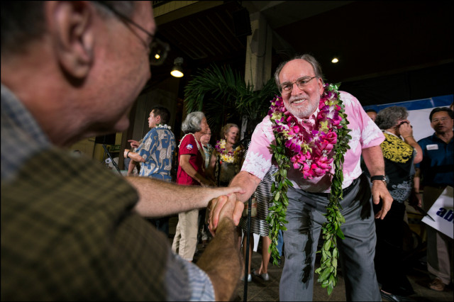 MAHALO FOR YOUR SUPPORT  Gov. Abercrombie thanks supporters before going over to see winner Sen. David Ige at Ige's campaign headquarters.