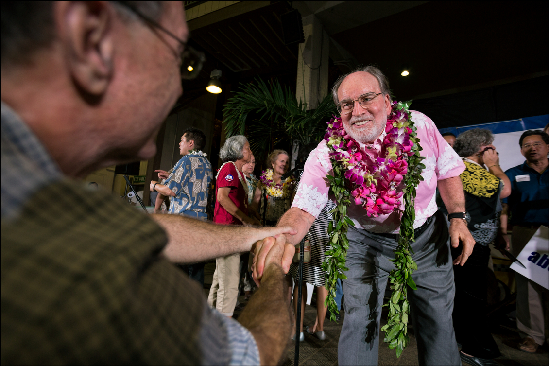 Surprisingly, after he thanked his supporters, Abercrombie left for Ige's campaign headquarters to join the party and offer his strong support for the democratic nominee in what may be a tight three-way race with Republican Duke Aiona and the Hawaii Independent Party's Mufi Hannemann.